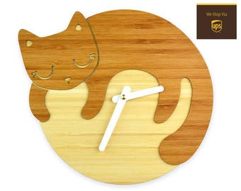 SLEEPING CAT - Bamboo Wall Clock - Children's Room Decor - Nursery Decor - Baby Shower Gift - Simple Wall Clock - Cat Lover - Cute Decor