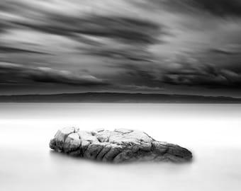 Black and white fine art landscape print - Rock 002 / Modern / Interior design /