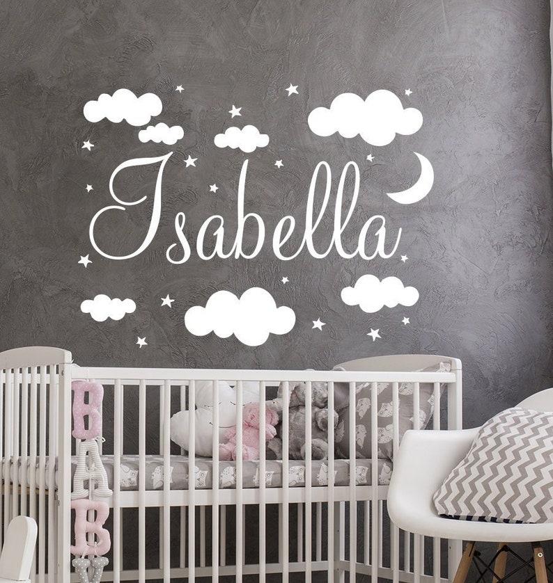 name wall decal baby nursery wall decal girl name nursery | etsy
