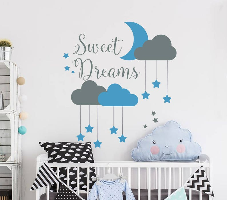 sweet dreams wall decal cloud wall decal moon and stars decals | etsy
