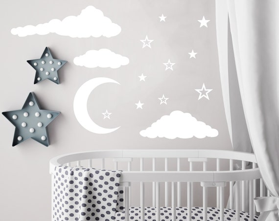 cloud wall decal moon and stars decals nursery decor night sky | etsy