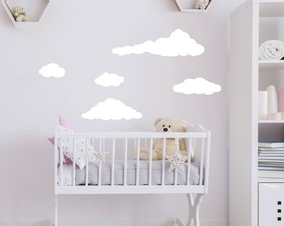 Nuage mur sticker nuages Stickers chambre d'enfant Decor nuit ciel nuages  mur autocollant bébé chambre Decor autocollant salle de jeux kp29
