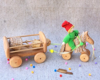Wooden toy Horse cart,Horse carriage toys,Horse and cart ,Waldorf toys wooden,Wooden Toys for kids, ,Kids gifts
