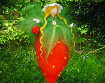 Waldorf inspried wool needle felted doll Hazelnut Fairy