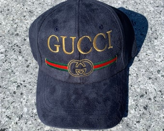 6201ff5891b GUCCI BL Embroidered Suede Adjustable Hat