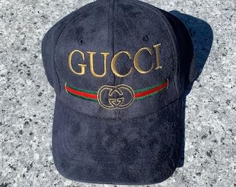 GUCCI BL Embroidered Suede Adjustable Hat 20e0139e5e7