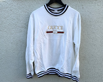 15b305c853f Vintage BL Gucci Embroidered Striped Sweater