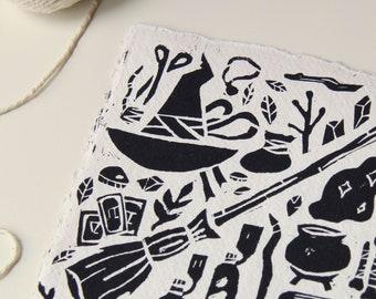 Witchy Items Handmade Linocut Print