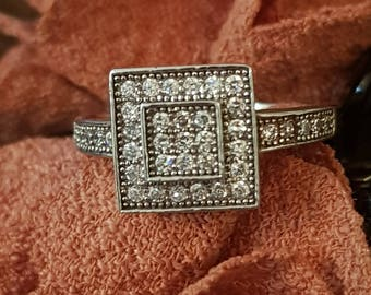 Pave Diamond Ring, Pave engagement ring