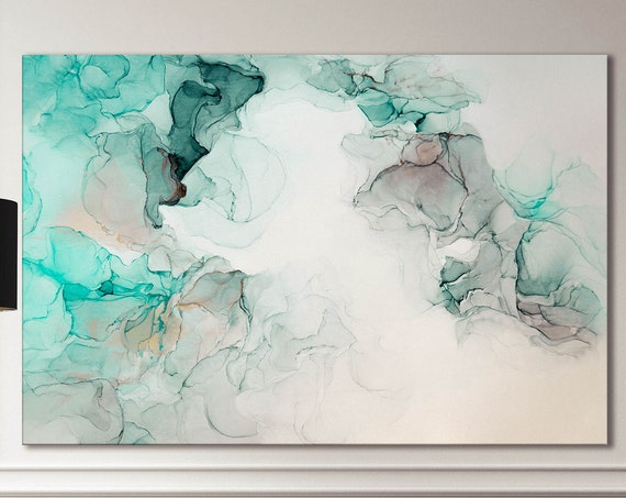 Green and white abstract art marble pattern framed canvas leather print | Large wall art | Large wall decor | Made in Italy | Home decor