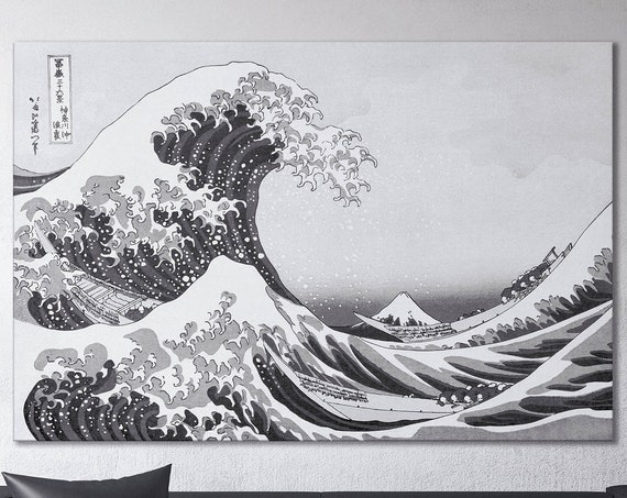 The The Great Wave Off Kanagawa Black and White Canvas Wall Art Leather Print