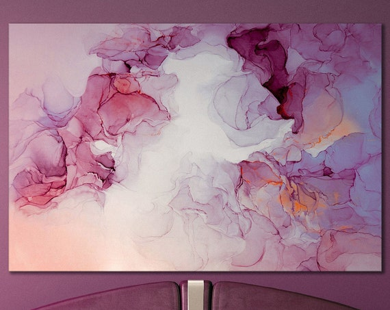 Pink and violet tones marble pattern framed canvas leather print   Large wall art   Large wall decor   Made in Italy   Luxury home decor