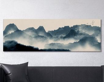 Japanese Mountain Landscape Wall Art Framed Canvas Print