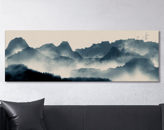 Japanese Mountain Landscape Wall Art Framed Canvas Print