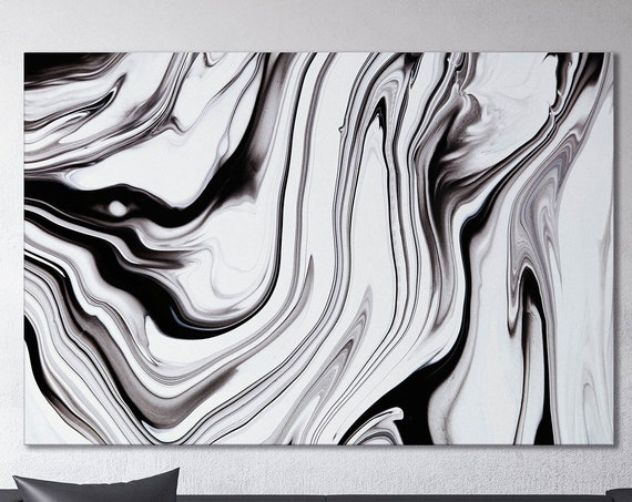 Black and white abstract art marble pattern framed canvas leather print | Large wall art | Large wall decor | Made in Italy | Home decor