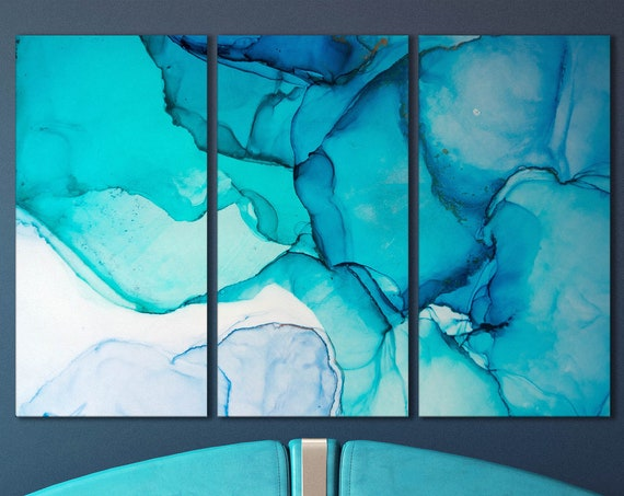 Light blue shades marble pattern framed canvas leather print   Large wall art   Large wall decor   Made in Italy   Luxury home decor