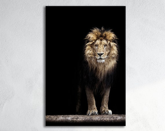 Portrait of a Lion Leather Print/Large Animal Print/Large Wall Art/Large Wall Decor/Home Decor/Made in Italy/Better than Canvas!