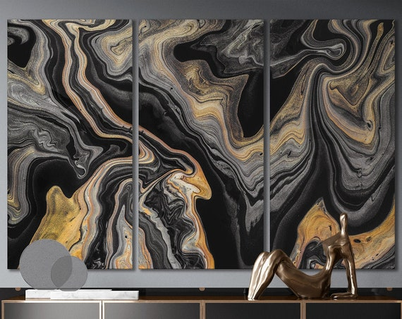 Black abstract art marble pattern framed canvas leather print | Large wall art | Large wall decor | Made in Italy | Home decor