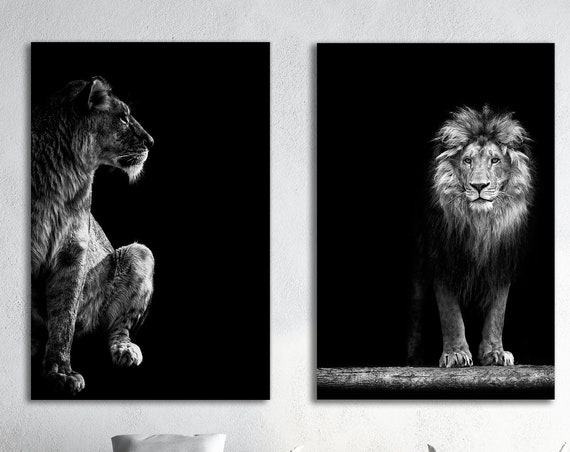 Lion and Lioness Portrait Leather Print/Large Lion Print/Large Lioness Print/Multi Panel/Large Wall Art/Made in Italy/Better than Canvas!