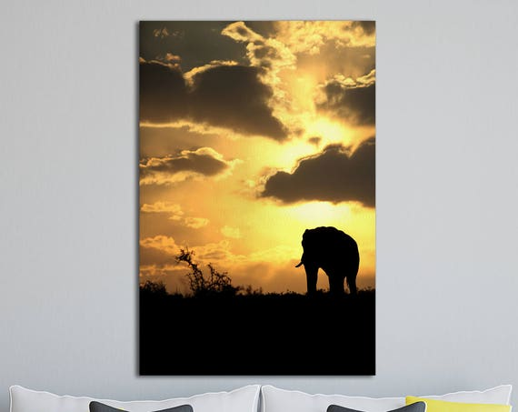 Silhouette of Elephant, African Sunset Leather Print/Large Wall Art/Large Wall Decor/Animal Print/Made in Italy/Better than Canvas!