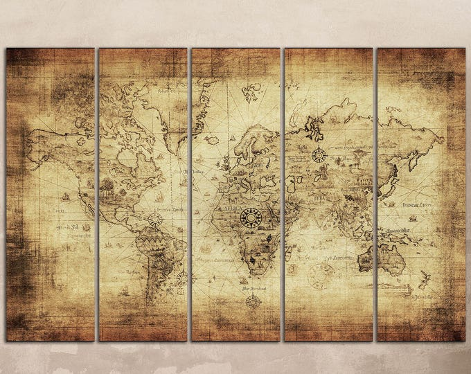 World maps lwhomedecor beigebrown ancient world map leather printlarge wall artbig size world gumiabroncs Images