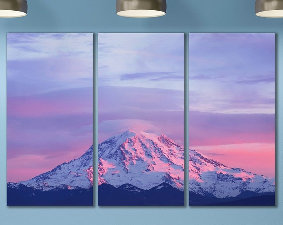 Sunset on Mount Rainier Canvas Leather Print/Mountain/Mount Rainier/Large Wall Art/Wall Decor/3 Panel Print/Made in Italy/Better than Canvas
