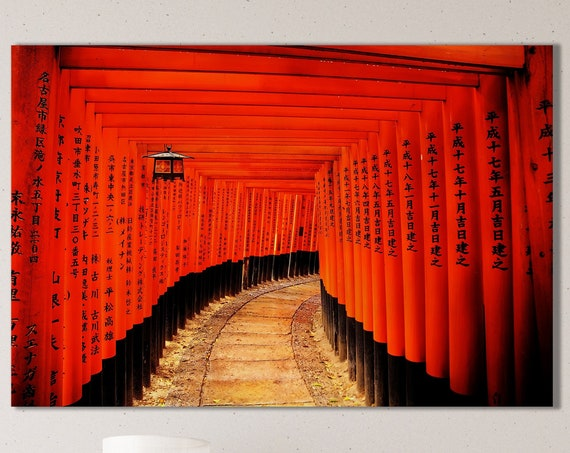 Torii Gates Fushimi Inari-taisha, Japan Canvas Leather Print/Large Japan Print/Large Wall Art/Wall Decor/Made in Italy/Better than Canvas!