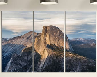 3 Panel Half Dome from Glacier Point Yosemite National Park Leather Print/Large Wall Art/Yosemite Park US/Made in Italy/Better than Canvas!
