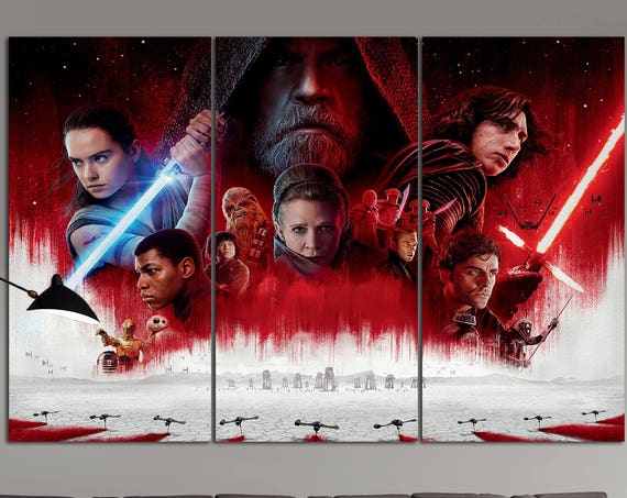 Star Wars The Last Jedi ARTWORK Leather Print/Large Star Wars Print/Large Wall Art/Kylo Ren/Luke Skywalker/Made in Italy/Better than Canvas!