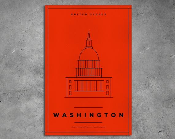 Washington Stylized Artwork Leather Print/Extra Large print/Wall Art/Better than Canvas!