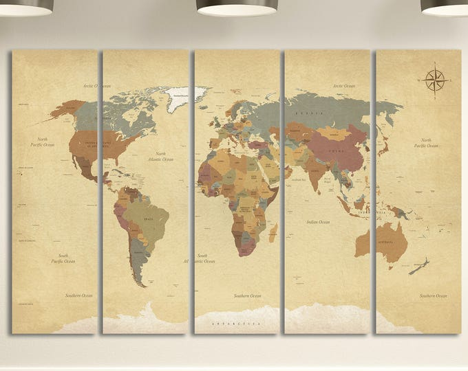 World maps lwhomedecor vintage detailed world map leather printbig size world maplarge wall art gumiabroncs Gallery
