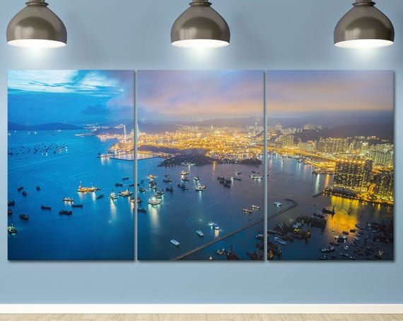 3 Panel Hong Kong Island Harbour Leather Print/Large Hong Kong Print/Large Wall Art/Multi Panel Print/Made in Italy/Better than Canvas!