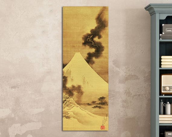 Hokusai Fuji Koryuu-The Dragon of Smoke Escaping from Mt Fuji Leather Print/Large Wall art/Large Wall Decor/Made in Italy/Better than Canvas
