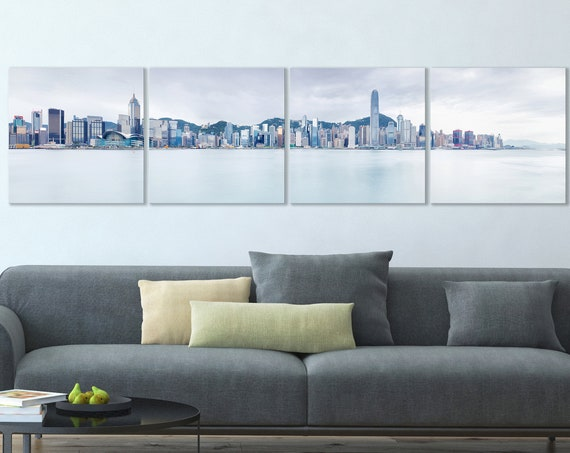 4 Panel Hong Kong Light Blue Tones Leather Print/Large Hong Kong Print/Hong Kong Wall Art/Large Wall Decor/Made in Italy/Better than Canvas!