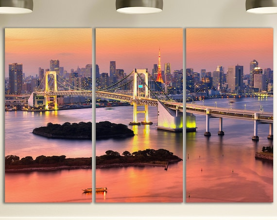 Tokyo Skyline with Tokyo Tower and Rainbow Bridge 3 Pieces Leather Print/Large Tokyo Print/Large Wall Art/Made in Italy/Better than Canvas!