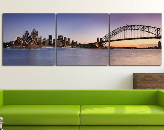 Sydney Skyline Leather Print/Large Sydney Print/Large Australia Wall Art/Large Wall Art/Multi Panel Print/Made in Italy/Better than Canvas!