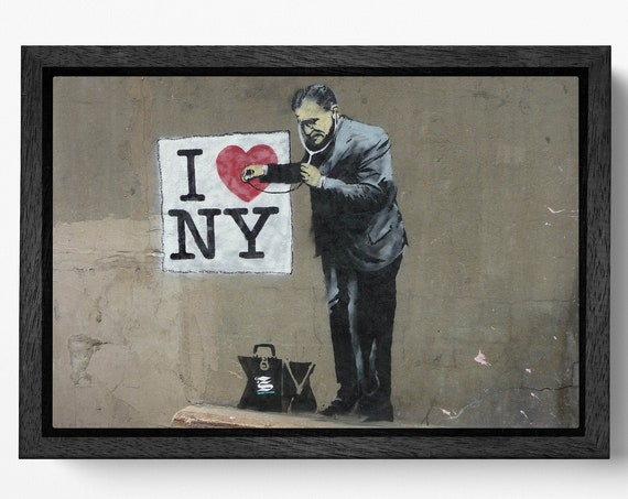 I Love New York by Banksy Wall Art Leather Print Floating Frame Reproduction