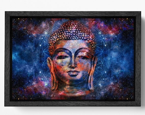 Buddha head mandala background artwork framed canvas leather print/Meditation print/Large wall art/Relaxing home decor/Made in Italy