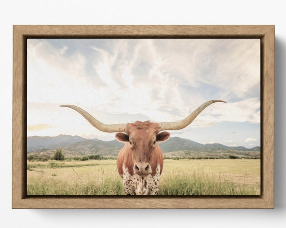 Texas longhorn steer with floating frame canvas leather print/Large wall art/Longhorn cow print/Animal canvas/Made in Italy/Framed canvas