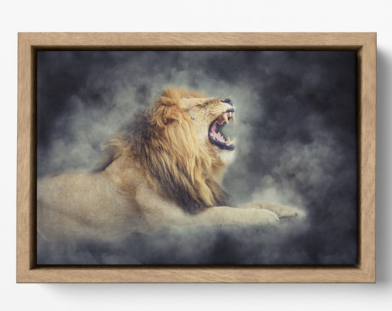 Roaring Lion Artwork Floating Frame Canvas Leather Print/Large Wall Art/Large Wall Decor/Animal Print/Large Canvas Print/Made in Italy