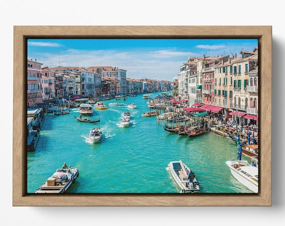 Canal Grande Venice, Italy in floating frame canvas leather print/Venezia canvas/Venice wall art/Wall decor/Made in Italy/Better than canvas