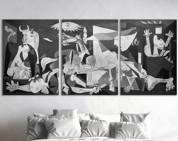 Guernica By Pablo Picasso Leather Print Reproduction/Multi panel/Artwork galleryfine/Leather Art/Wall Art/Wall Decor/Better than Canvas!