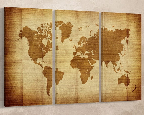 Vintage World Map Leather Print/Large Wall Art/Extra Large World Map/Multi Panel World Map/Wall Decor/Made in Italy/Better than Canvas!