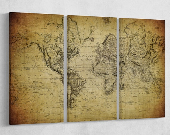 3 Panel Vintage Map Of The World 1814 Leather Print/Wall art/Extra large World Map/Wall decor/Better than Canvas!