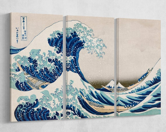 The Great Wave Off Kanagawa Canvas Wall Art Leather Print