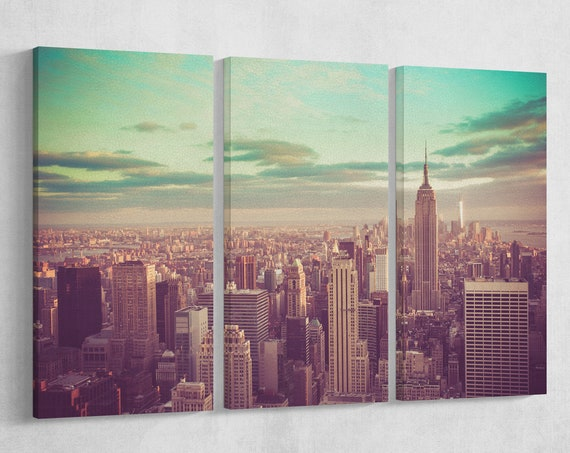 New York City, Manhattan Vintage Leather Print/Wall Art/Extra Large Print/Multi Pieces Print/Made in Italy/New York/Better than Canvas!