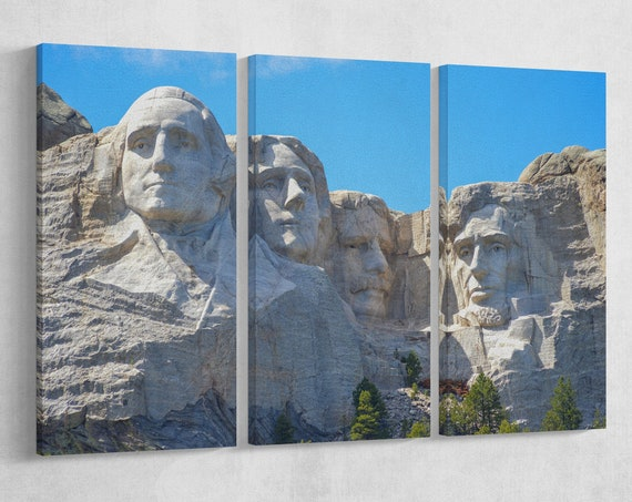 Mount Rushmore 3 Panels Leather Print/US monuments/Extra Large Print/Multi Panel Print/Wall Art/Wall Decor/Better than Canvas!