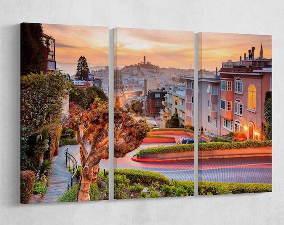 San Francisco Lombard Street Leather Print/San Francisco Big Print/San Francisco Multi Panel Print/Wall Art/Wall Decor/Better than Canvas!