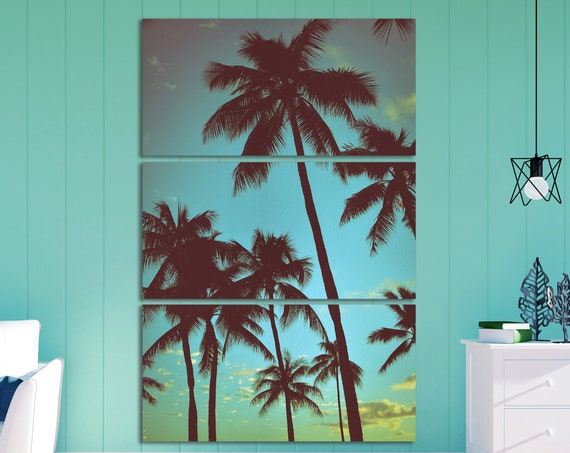 Hawaii Palms Vintage Filter Leather Print/Large Wall Art/Hawaii Print/Vintage Print/Vintage Filter/Made in Italy/Better than Canvas!