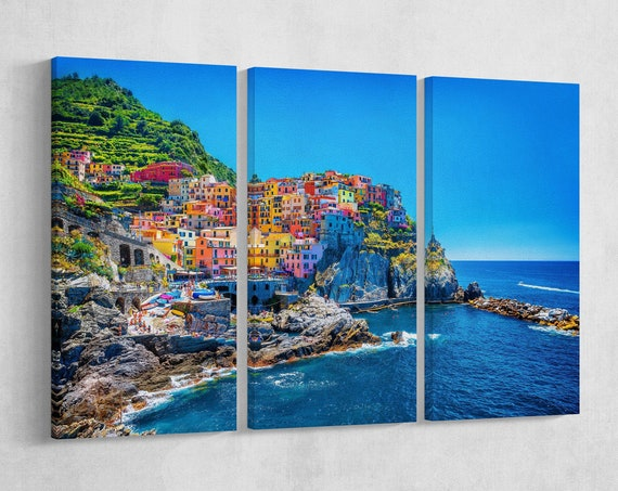 3 Pieces Manarola, Cinque Terre, Liguria, Italy Leather Print/Wall Art/Wall Decor/Multi Panel Print/Extra Large print/Better than Canvas!